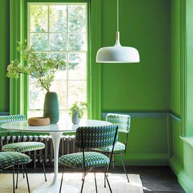 Bright vibrant green coloured paint